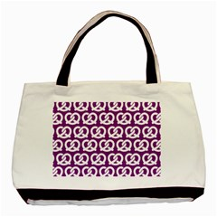 Purple Pretzel Illustrations Pattern Basic Tote Bag