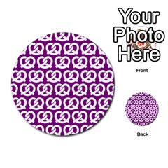 Purple Pretzel Illustrations Pattern Multi Purpose Cards (round)