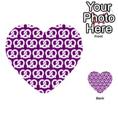 Purple Pretzel Illustrations Pattern Multi-purpose Cards (Heart)