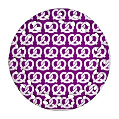 Purple Pretzel Illustrations Pattern Round Filigree Ornament (2Side)