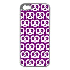 Purple Pretzel Illustrations Pattern Apple iPhone 5 Case (Silver)