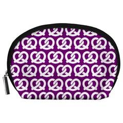 Purple Pretzel Illustrations Pattern Accessory Pouches (large)