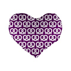 Purple Pretzel Illustrations Pattern Standard 16  Premium Flano Heart Shape Cushions