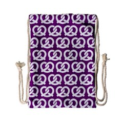 Purple Pretzel Illustrations Pattern Drawstring Bag (Small)