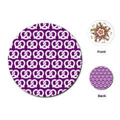 Purple Pretzel Illustrations Pattern Playing Cards (round)