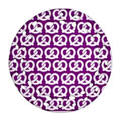 Purple Pretzel Illustrations Pattern Round Filigree Ornament (2Side)