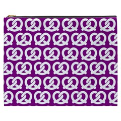 Purple Pretzel Illustrations Pattern Cosmetic Bag (XXXL)
