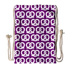 Purple Pretzel Illustrations Pattern Drawstring Bag (Large)