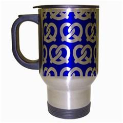 Blue Pretzel Illustrations Pattern Travel Mug (Silver Gray)