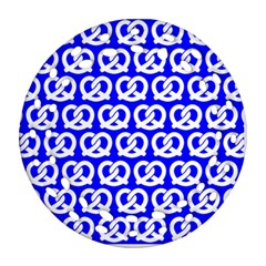 Blue Pretzel Illustrations Pattern Ornament (Round Filigree)