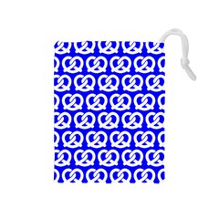 Blue Pretzel Illustrations Pattern Drawstring Pouches (medium)