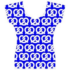 Blue Pretzel Illustrations Pattern Women s V-Neck Cap Sleeve Top