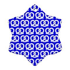 Blue Pretzel Illustrations Pattern Ornament (Snowflake)