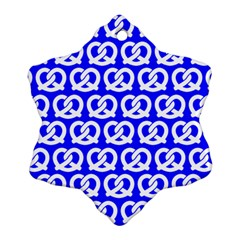 Blue Pretzel Illustrations Pattern Snowflake Ornament (2-Side)