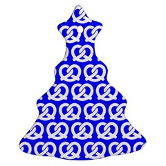Blue Pretzel Illustrations Pattern Christmas Tree Ornament (2 Sides)