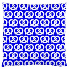 Blue Pretzel Illustrations Pattern Large Flano Cushion Cases (One Side)