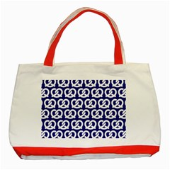 Navy Pretzel Illustrations Pattern Classic Tote Bag (Red)