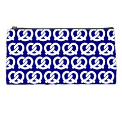 Navy Pretzel Illustrations Pattern Pencil Cases