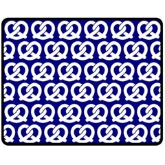 Navy Pretzel Illustrations Pattern Fleece Blanket (Medium)