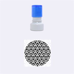 Navy Pretzel Illustrations Pattern Rubber Round Stamps (Small)