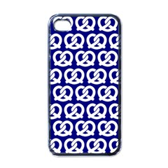 Navy Pretzel Illustrations Pattern Apple iPhone 4 Case (Black)