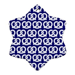 Navy Pretzel Illustrations Pattern Snowflake Ornament (2 Side)