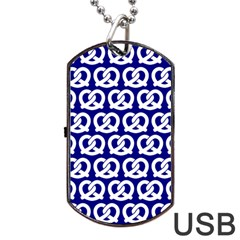 Navy Pretzel Illustrations Pattern Dog Tag USB Flash (Two Sides)