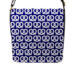 Navy Pretzel Illustrations Pattern Flap Messenger Bag (L)