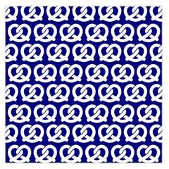Navy Pretzel Illustrations Pattern Large Satin Scarf (Square)