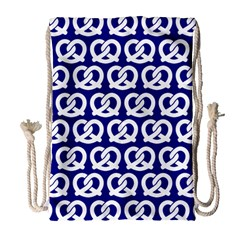 Navy Pretzel Illustrations Pattern Drawstring Bag (Large)