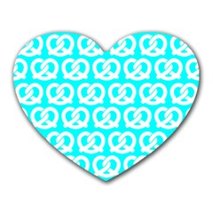 Aqua Pretzel Illustrations Pattern Heart Mousepads