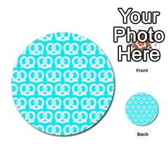 Aqua Pretzel Illustrations Pattern Multi-purpose Cards (Round)
