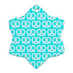 Aqua Pretzel Illustrations Pattern Snowflake Ornament (2-Side)