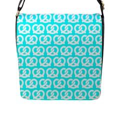 Aqua Pretzel Illustrations Pattern Flap Messenger Bag (L)