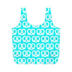 Aqua Pretzel Illustrations Pattern Full Print Recycle Bags (M)