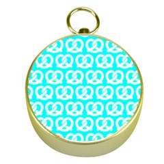 Aqua Pretzel Illustrations Pattern Gold Compasses