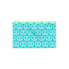 Aqua Pretzel Illustrations Pattern Cosmetic Bag (XS)
