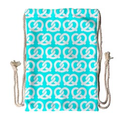 Aqua Pretzel Illustrations Pattern Drawstring Bag (Large)