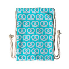 Aqua Pretzel Illustrations Pattern Drawstring Bag (Small)