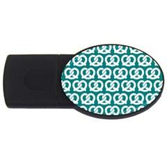 Teal Pretzel Illustrations Pattern USB Flash Drive Oval (2 GB)