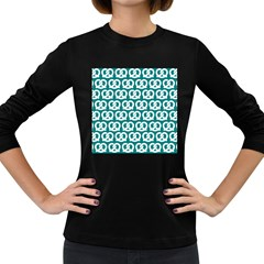 Teal Pretzel Illustrations Pattern Women s Long Sleeve Dark T-Shirts