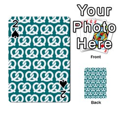 Teal Pretzel Illustrations Pattern Playing Cards 54 Designs