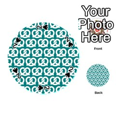 Teal Pretzel Illustrations Pattern Playing Cards 54 (round)