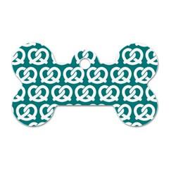 Teal Pretzel Illustrations Pattern Dog Tag Bone (One Side)