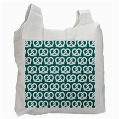 Teal Pretzel Illustrations Pattern Recycle Bag (One Side)
