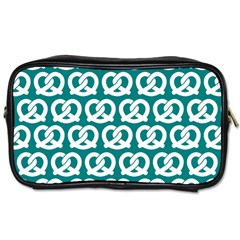 Teal Pretzel Illustrations Pattern Toiletries Bags 2 Side