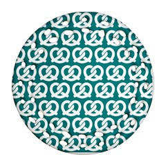 Teal Pretzel Illustrations Pattern Round Filigree Ornament (2side)