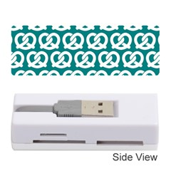 Teal Pretzel Illustrations Pattern Memory Card Reader (Stick)