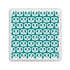 Teal Pretzel Illustrations Pattern Memory Card Reader (Square)
