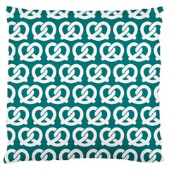 Teal Pretzel Illustrations Pattern Large Cushion Cases (Two Sides)